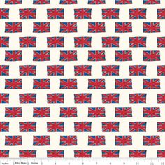 Riley Blake - British Invasion Flag Cream - cotton fabric