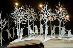 The Twelve Dancing Princesses , book sculpture by Su Blackwell #art #paper_art #paper_crafting #book_arts
