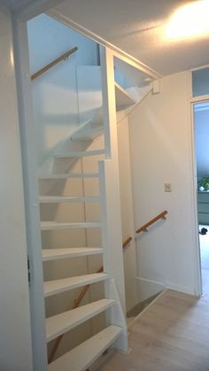 Narrow Staircase, Loft Staircase, Attic Stairs, Small Attic Room, Small Attics, Attic Rooms, Backyard Cabin, Attic Bedroom Designs, Happy Room