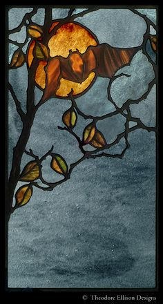 Bat in Moonlight - Stained Glass Window - Theodore Ellison Designs Stained Glass Designs, Stained Glass Projects, Stained Glass Patterns, Stained Glass Art, Stained Glass Windows, Mosaic Glass, Window Glass, Fused Glass, Glass Beads
