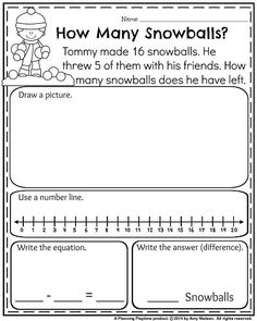 First Grade worksheets for January - How many snowballs Subtraction Word Problem Under Homeschool Worksheets, 1st Grade Math Worksheets, Phonics Worksheets, First Grade Classroom, First Grade Math, Grade 1, Math Resources, Homeschooling, First Grade Words