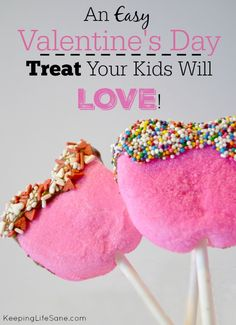What kid doesn't like marshmallows, chocolate, and sprinkles?  Try making this fun snack for your kids this winter.  Valentine's Day Treat for Kids - Keeping Life Sane