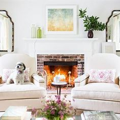 Chairs in Front of Fireplace, Transitional, Living Room, McGrath 2