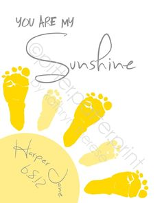 You Are My Sunshine Wall Art Print - Baby Footprint Sun - Gray \u0026amp; Yellow Nursery Art - Baby Wall Art - Nursery Decor