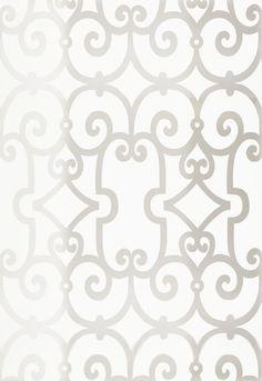 Manor Gate wallpaper in silver   Schumacher