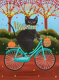 Autumn Fat Black Cat on a Bicycle Original Folk Art Painting by KilkennycatArt