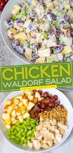A healthy Waldorf salad recipe with Greek yogurt! Made with tender chunks of chicken, apples, grapes, walnuts, celery, and a bright and tangy Greek yogurt dressing, this would be the perfect Mother's… Apple Grape Salad Recipe, Waldorf Salad Recipe Healthy, Waldorf Chicken Salad, Greek Yogurt Dressing, Easy Healthy Recipes, Yummy Recipes, Greek Yogurt Recipes, Mason Jar Meals, Tasty