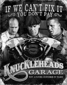 """The Three Stooges """"Knuckleheads Garage"""" Metal Poster 2010 NEW! Garage Metal, Garage Bike, Man Cave Garage, Garage Pub, Garage Shop, The Three Stooges, The Stooges, Bike Funny, Cave Bar"""