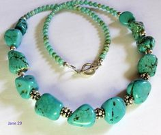 Large Magnesite Nuggets and Sterling Beads Necklace