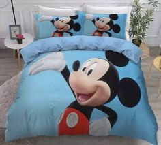 MICKEY MOUSE FULL SIZE DUVET COVER WITH TWO PILLOW CASES 3 PC SET Mickey Mouse Bed Set, Minnie Mouse Bedding, Disney Bedding, Full Size Duvet Cover, Duvet Cover Sets, Blue Duvet, Kids Bedding Sets, Soo Jin, Kids Blankets