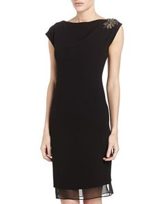 Cap-Sleeve Beaded Shoulder Sheath Dress, Black by Rickie Freeman for Teri Jon at Neiman Marcus Last Call.