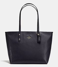 Coach City Zip Tote in Pebble Leather 37155M LI/Navy