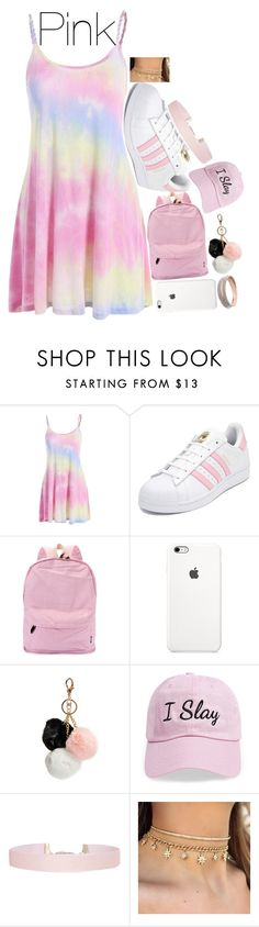 """Pink Day"" by smokeylovebae ❤ liked on Polyvore featuring adidas, GUESS, Steve Madden and Humble Chic"