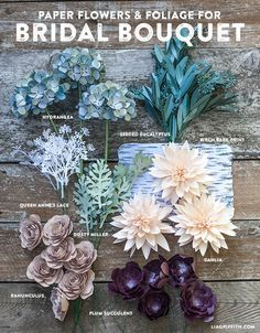 DIY Flower Foliage for rustic inspired bouquet. Pattern and tutorial @LiaGriffith.com