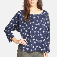 "Anthropologie Pintuck Blouse Cute navy and white Pintuck blouse by Porridge. New condition. 3/4 sleeves Sz Small.... Would also fit a medium....Armpit to armpit 23"", length 25"" Anthropologie Tops Blouses"