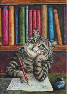 Books and Cats - Poetry and Ficton. The writing life is for me. I Love Cats, Crazy Cats, Cute Cats, Funny Cats, Vintage Cat, Cat Drawing, Beautiful Cats, Cat Memes, Cat Art
