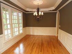 Love dark olive green dimming room with wainscoting