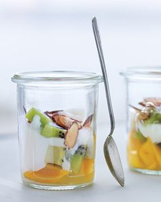 ~ Tropical Fruit Parfait ~  In a small glass — or a jar with a lid, if you're on the go — layer 1/2 cup fruit cut into 1/2-inch cubes (kiwis, mangos, and pineapples are nice) with 1/4 cup plain low-fat yogurt. Top with 1 tablespoon toasted sliced almonds. Makes 1 serving (100 calories).