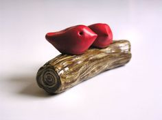 Lovebirdshandmade polymer clay art sculptureGreat gift by SkyeArt, $48.00