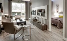I really like these almond coloured floors for my futur City Living, Living Room, Life Space, Floors, Almond, Condo, The Unit, Windows, Spaces