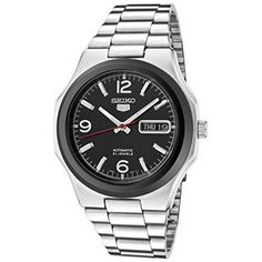 Seiko SNKK61K1 Mens Automatic 21 Jewels Stainless Steel with Black Dial