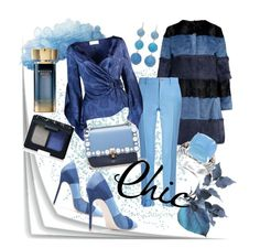 A fashion look from February 2018 featuring long tops, blue coat and ruffle pants. Fendi, Gucci, Peter Pilotto, Effy Jewelry, Kenneth Jay Lane, Nars Cosmetics, Polyvore, Fashion, Moda