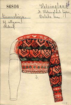 Delsbo, Hälsingland. Fair Isle Knitting Patterns, Knitting Machine Patterns, Crochet Fall, Knit Crochet, Vintage Knitting, Hand Knitting, Folk Costume, Costumes, Swedish Fashion