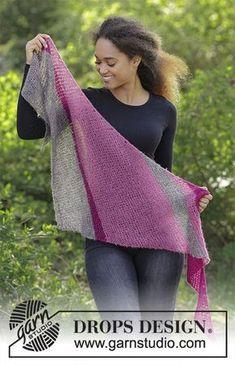 Tuch mit Krausrippen und Streifen, quer gestrickt. Die Arbeit wird gestrickt in DROPS Brushed Alpaca Silk.