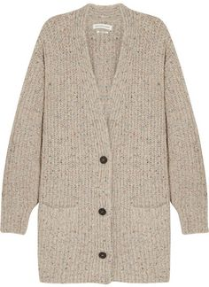 Étoile Isabel Marant - Hamilton Oversized Knitted Cardigan - Beige - Étoile Isabel Marant's 'Hamilton' cardigan has a cool, slouchy feel - furthered by its deep V-neckline. Made in Italy, this oversized style is spun from beige knit, blended with a touch of wool for softness and speckled with multicolored flecks. Layer yours over weekend looks.