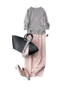 Pink and grey outfit Fashion Mode, Office Fashion, Modest Fashion, Look Fashion, Hijab Fashion, Spring Fashion, Fashion Outfits, Womens Fashion, Fashion Black