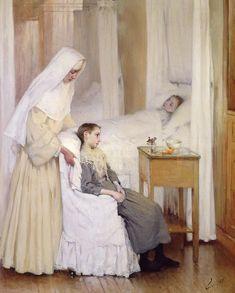 At Notre-dame Du Perpetuel Bon Secours Hospital Painting by Henri Jules Jean Geoffroy