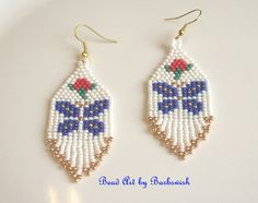 Blue Butterflies Native American Style Handwoven Seed by Barbswish, $8.00