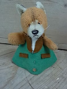 B24 RARE Betthupferl Fox Steiff Toy Animal Vintage German 1950 1960' S