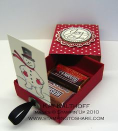 """2010   Pop Up Snowman in a Matchbox   Stamps: Perfect Punches, Jolly Old St. Nick Paper: Cherry Cobbler, Very Vanilla Ink: Cherry Cobbler, Basic Black Tools: Big Shot, Extended Cutting Pads, Matchbook Bigz XL Die, Crop-a-Dial, 1 3/4"""" Scallop Circle Punch, 1 3/8"""" Circle Punch Accessories: Jumbo Pewter Eyelet, Dazzling Diamonds, 1/4"""" Basic Black Grosgrain, Medium Weight Window Sheets, Blender Pens Adhesives: Mini Glue Dots, Stampin' Dimensionals, Multi Purpose Liquid Glue"""
