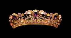 Antique Tiara (19th c.; amethysts, diamonds, enamel, gold).