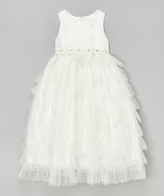 Another great find on #zulily! Ivory Tiered Ruffle Dress - Toddler & Girls by Kid's Dream #zulilyfinds