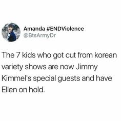 BTS on Jimmy Kimmel show and have Ellen show on hold....I feel proud....for some reason.
