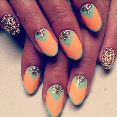 turquoise and peach nails