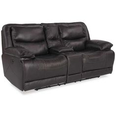 Chocolate Leather Power Recline Console Loveseat