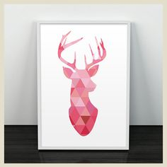 Cuadro Geo Deer Print Pink by Casa de Palo ()