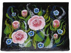 quadretto fiori misti dipinto a mano