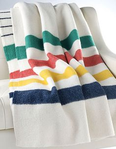 Hudson's Bay Company collection blanket  The multistripe point blanket has become the most popular product identified with HBC and, by extension, Canada. Cozy up with this beautiful blanket made of 100% woven wool or display it on your sofa in the living room. The Bay, $275.
