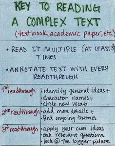 How to read a complex text