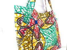 Sac week-end shopping Reggae Fever en coton motif vert jaune rouge