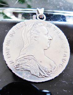 "900 SILVER PENDANT, Austrian Coin, 1780, Empress Maria Theresia, Restruck, 1 5/8"", Heraldic Taler by AlpineCountryLooks on Etsy"