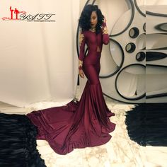 ab58a0022961 Find More Evening Dresses Information about New Arrival Africa  Autumn/Spring Sexy Burgundy Long Sleeve