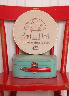 Mushroom House Embroidery PATTERN by alittlesweetness on Etsy, $5.00