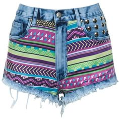 bambam Neon Aztec Print Shorts ($57) ❤ liked on Polyvore featuring shorts, bottoms, pants, short, aztec print shorts, aztec shorts, embroidered shorts, studded shorts and tribal print shorts
