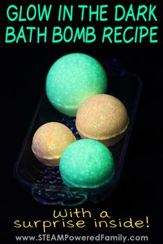 How to make glow in the dark bath bombs with chemistry lesson Diy Bath Bombs Easy, Making Bath Bombs, Best Bath Bombs, Homemade Bath Bombs, Bomb Making, Bubble Bath Bomb, Bubble Baths, Bath Boms Diy, Bath Bomb Recipes
