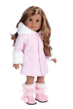 Cotton Candy - Clothes for 18 inch American Girl Doll - Parka Coat, Dress, Boots – Dreamworld Collections